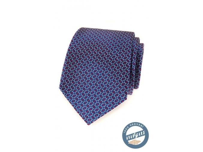 Modrá hedvábná kravata s červeným vzorkem + dárková krabička