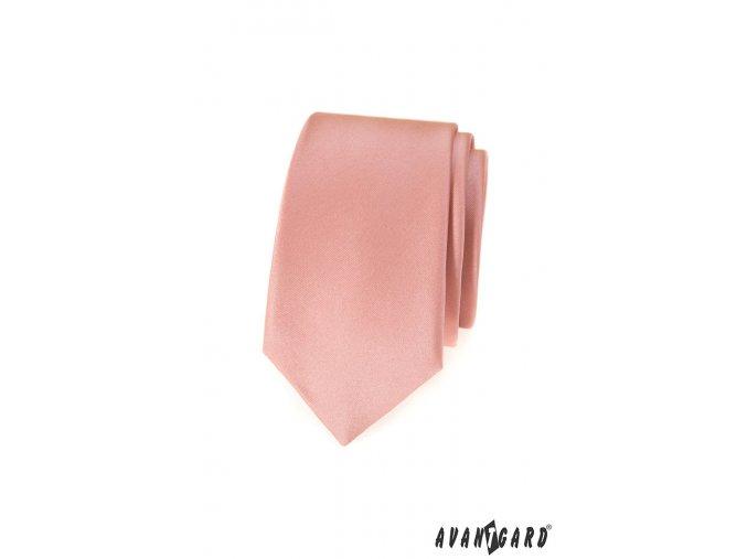 Pudrová luxusní slim kravata