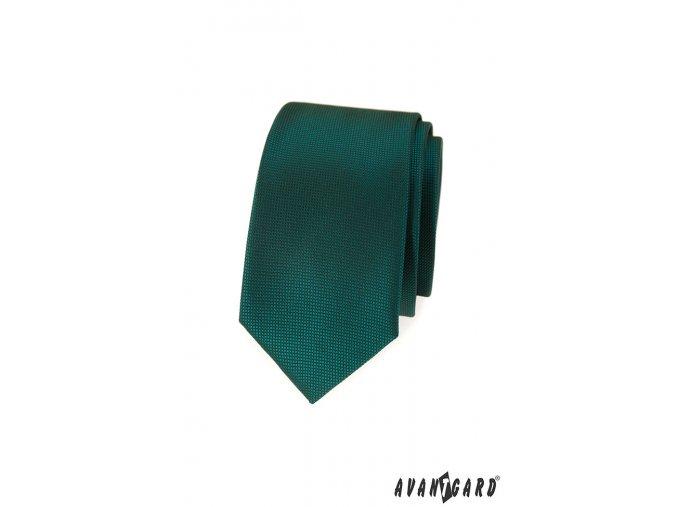 Tmavě zelená luxusní slim kravata