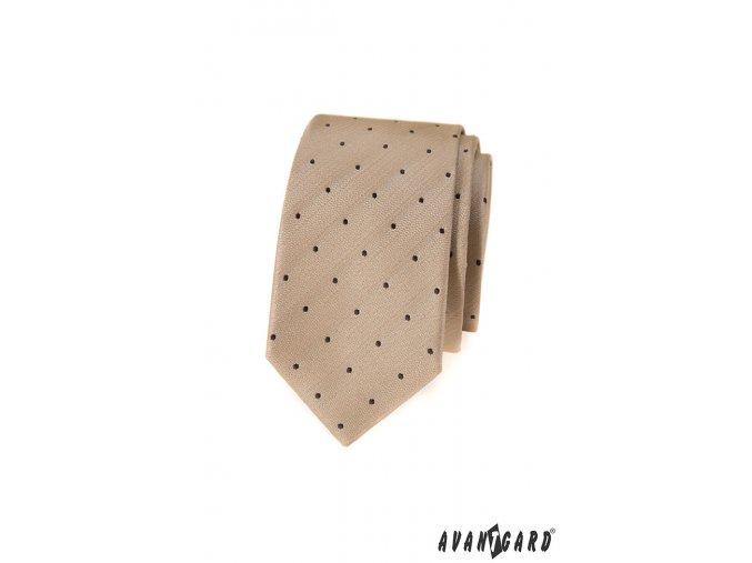 Béžová slim kravata s puntíky