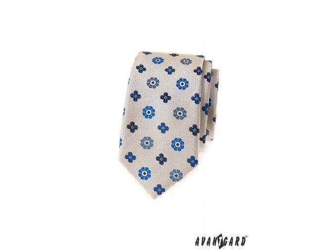 Světle béžová luxusní slim kravata se vzorem