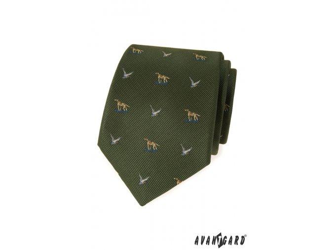 Zelená luxusní kravata se vzorem - lov/myslivec