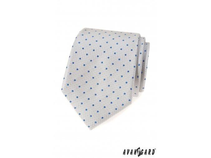 Velmi světle šedá luxusní kravata s modrými puntíky