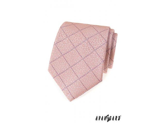 Pudrová luxusní jemně károvaná kravata