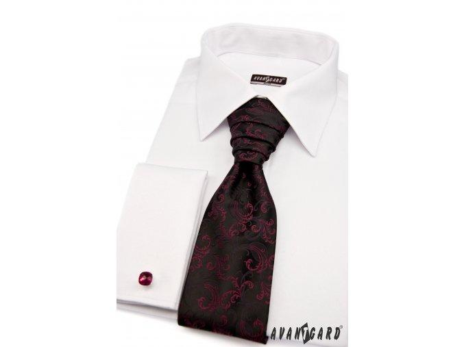 Černá regata s vínovým vzorem + kapesníček
