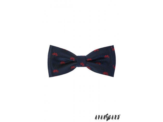 Tmavě modrý motýlek s červeným vzorem - Kolo + kapesníček do saka