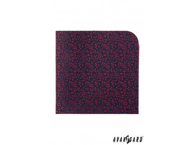 Tmavě modrý luxusní kapesníček s červeným vzorem - Noty