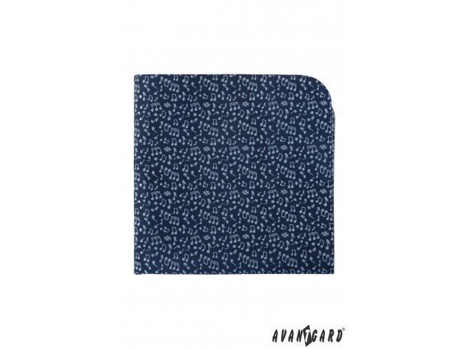 Modrý luxusní kapesníček se světlým vzorem - Noty