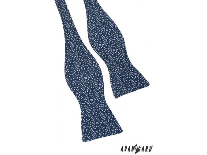 Tmavě modrý vázací motýlek se vzorem - Noty