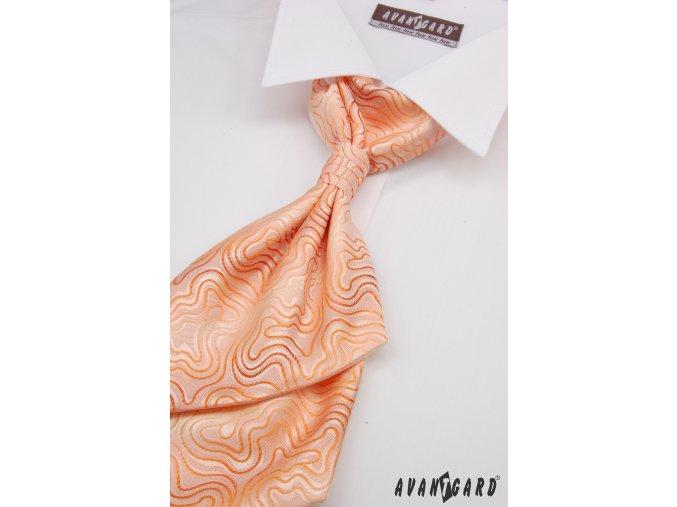 Světle oranžová regata s tenkými zvlněnými proužky + kapesníček _