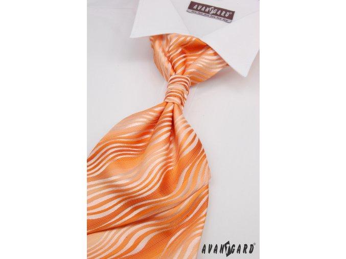 Světle oranžová regata ze zvlněnými proužky + kapesníček _