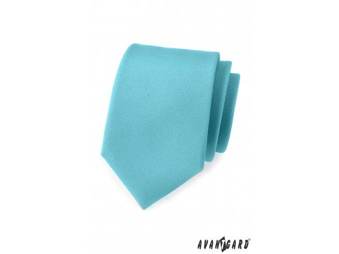 Tyrkysová luxusní matná kravata