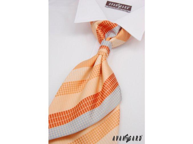 Světle oranžová regata s barevnými pruhy + kapesníček _