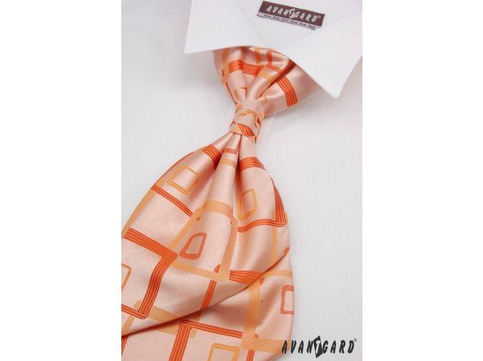 Světle oranžová regata se čtvercovým vzorem + kapesníček _