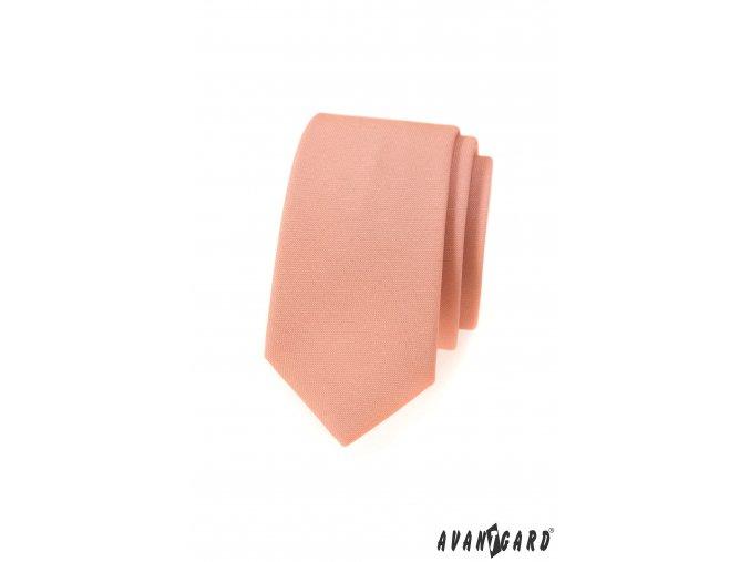 Lososová luxusní slim matná kravata