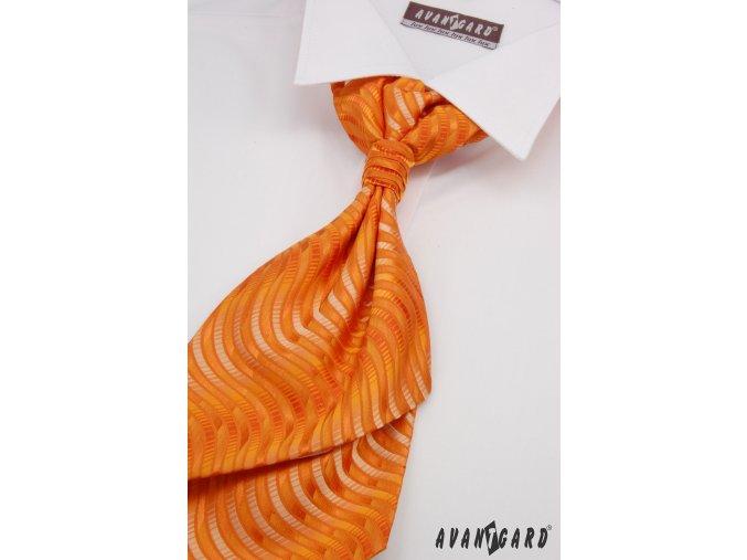 Oranžová regata se zvlněnými proužky + kapesníček _