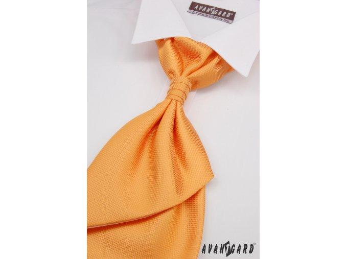 Oranžová jemně rýhovaná regata + kapesníček _