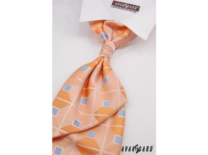 Oranžová regata se čtverci a proužky + kapesníček _