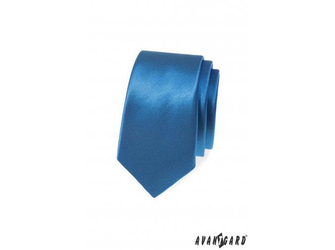Modrá lesklá slim kravata