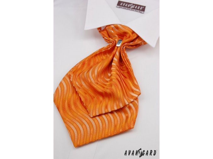 Oranžový plastron se zvlněnými proužky + kapesníček do saka