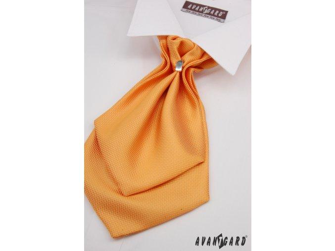 Světle oranžový jednobarevný plastron + kapesníček do saka