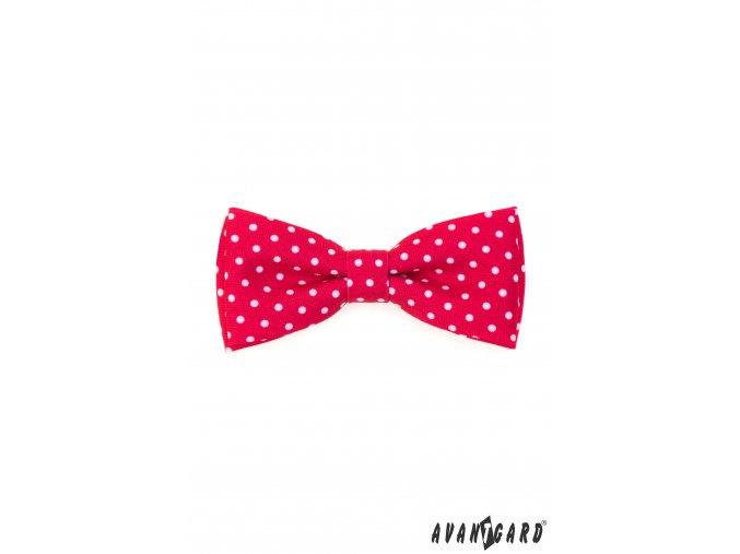Červený puntíkovaný pánský motýlek + kapesníček do saka