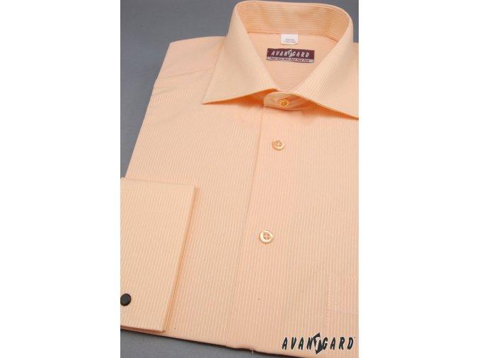 Pánská lososová luxusní košile na manžetové knoflíčky 512-2104