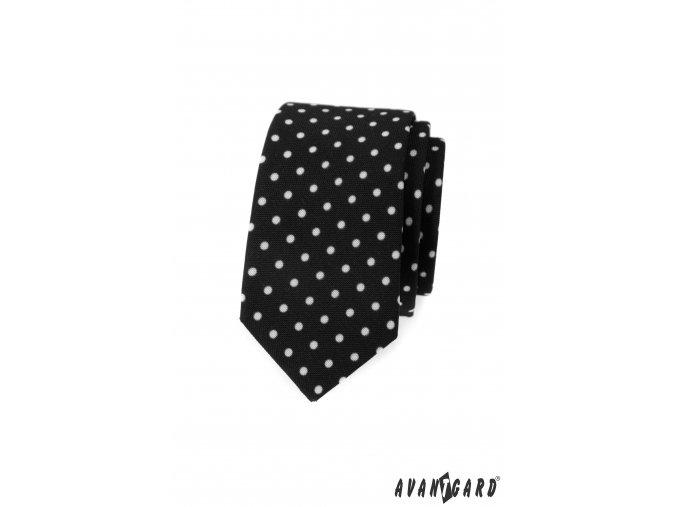 Černá slim kravata s většími bílými puntíky