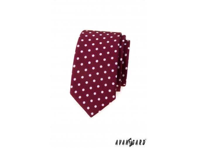 Bordó luxusní slim kravata s bílými puntíky