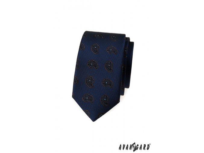 Velmi tmavě modrá vzorovaná luxusní slim kravata
