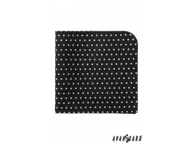 Černý luxusní kapesníček s bílými puntíky