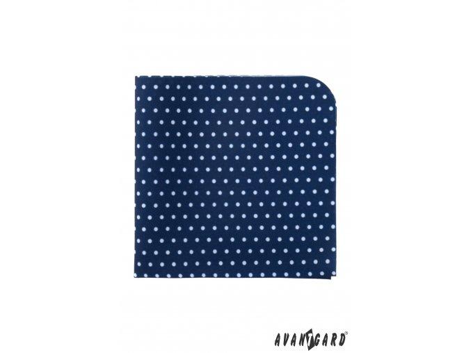 Tmavě modrý luxusní kapesníček s bílými puntíky