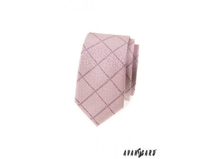 Světle pudrová slim kravata s mřížkou