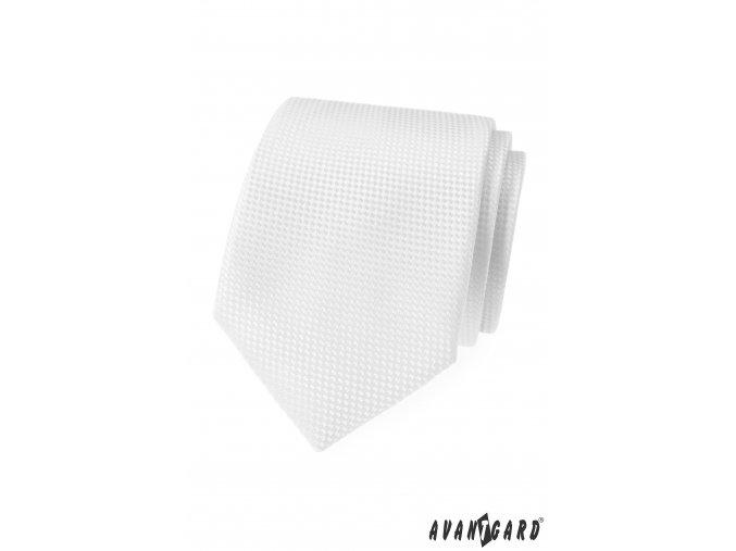 Bílá luxusní kravata s jemným vzorem + kapesníček do saka