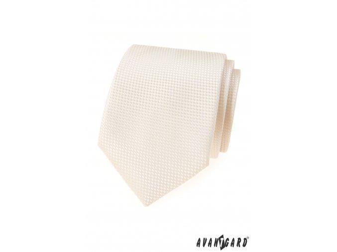Smetanová luxusní kravata se vzorem + kapesníček do saka