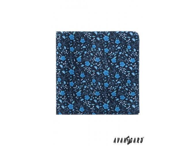 Tmavě modrý luxusní kapesníček s květy