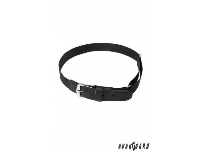 Černý dětský pásek - černá kůže
