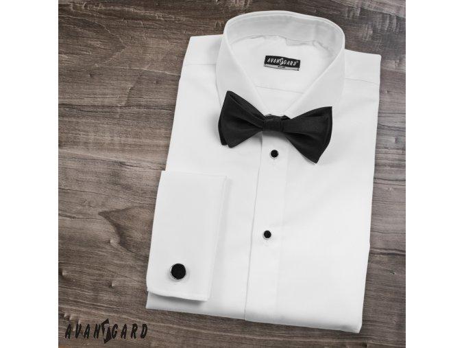 Bílá pánská smokingová slim fit košile s propínací légou, dl. rukáv na manž. knoflíčky, 105-01