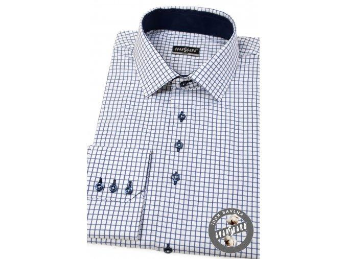 Modrá kostkovaná pánská slim fit košile, dl.rukáv, 107-3431