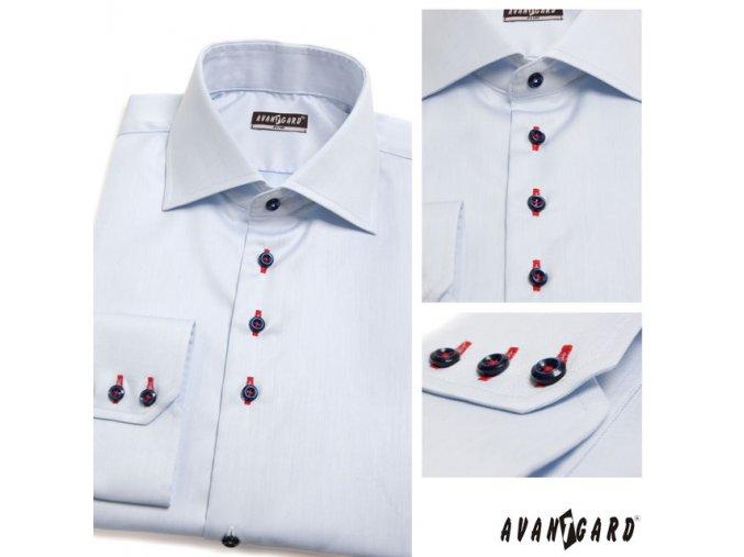 Světle modrá pánská slim fit košile, dl.rukáv, 107-4912