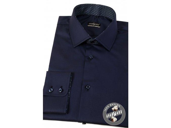 Tmavě modrá pánská slim fit košile se zdobeným límečkem, dl.rukáv, 109-3148