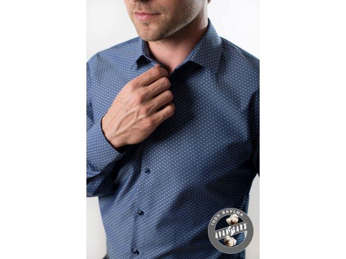 Modrá tečkovaná pánská slim fit košile, dl.rukáv, 109-48