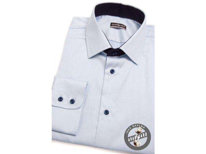 Světle modrá pánská slim fit košile, dl.rukáv, 109-4931