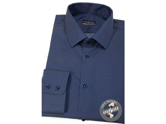 Sytě modrá pánská slim fit košile, dl.rukáv, 109-5505