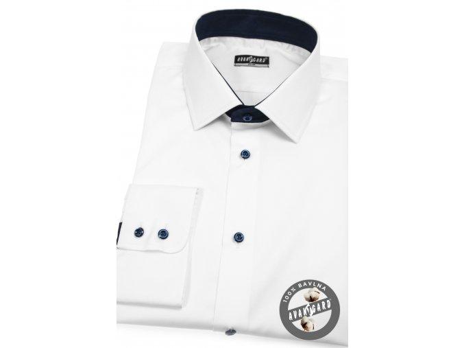 Bílá pánská slim fit košile s modrými knoflíčky, dl.rukáv, 109-9131
