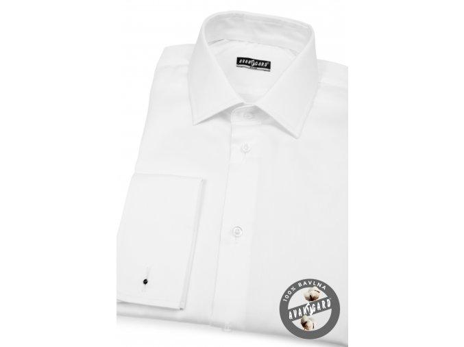Bílá pánská slim fit košile, dl. rukáv na manž. knoflíčky, 122-1
