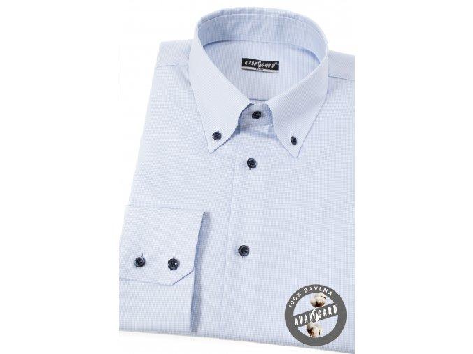 Světle modrá pánská slim fit košile s jemným vzorkem, dl. rukáv, 131-1501