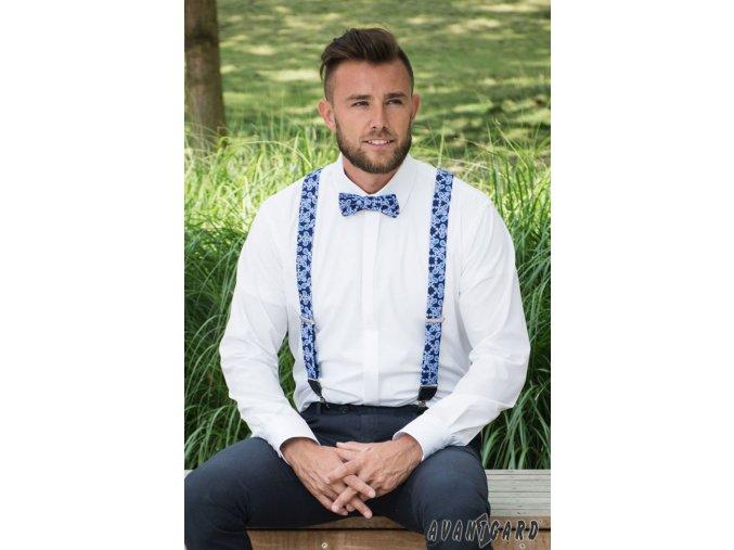 Čistě bílá pánská slim fit košile s krytou légou, 132-001