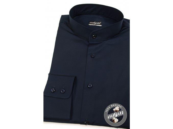 Tmavě modrá pánská slim fit košile se stojáčkem, dl.rukáv, 152-31
