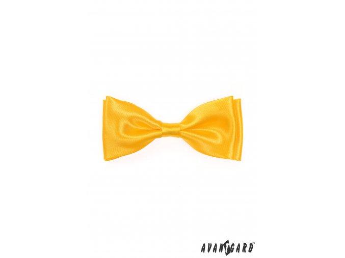 Žlutý pánský jednobarevný motýlek